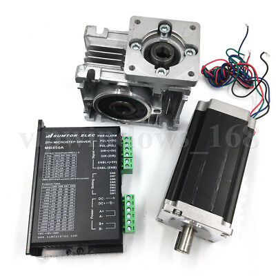 Nema23 3Nm L112mm Stepper Motor Driver+Worm Gearbox Speed Reducer Geared Kit