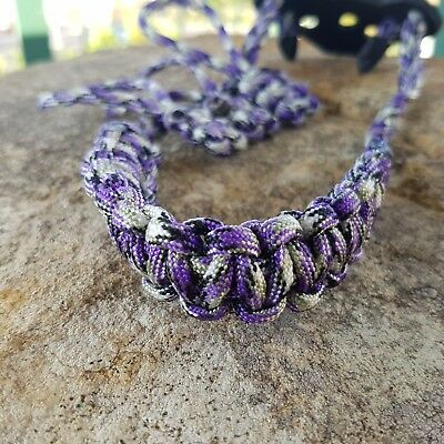 Archery Bow Sling 550 Paracord  purple camo + 3 zipper pulls