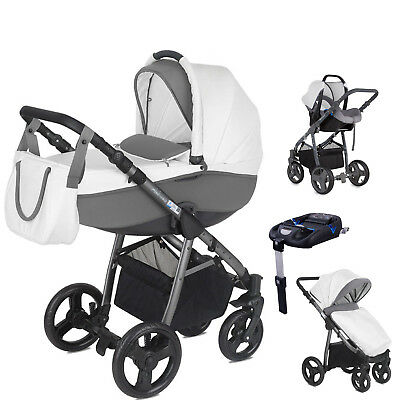 Mini Uno Cloud White Stride Travel System Pushchair Carseat Carrycot Isofix Base