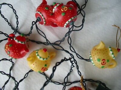 Mary Engelbreit 10 Yellow & Red Teapot Christmas Tree Light string Pre-owned