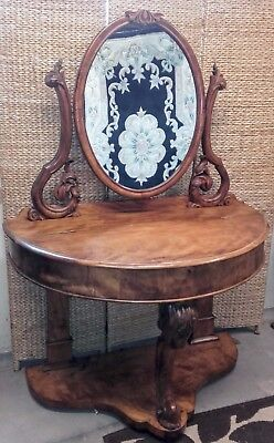 Antique Demi Lune Dressing Table with mirror