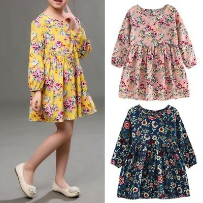 Girls Casual Long Sleeve Round Neck Floral Print Princess A-line Pleated Dress