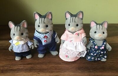 Sylvanian Families -  FISHER CAT  FAMILY FIGURES x 4 - Clothed in GC