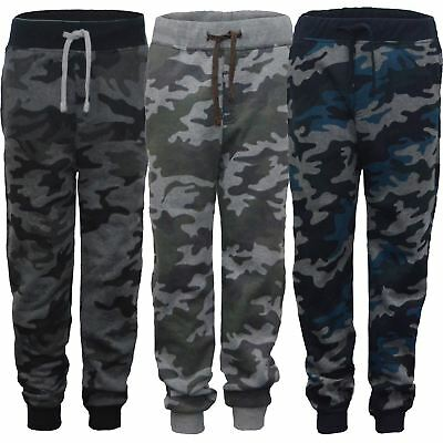Kids Camo Print Tracksuit Bottoms Girls Boys Jogging Trousers Sweatpants 3-14 Y
