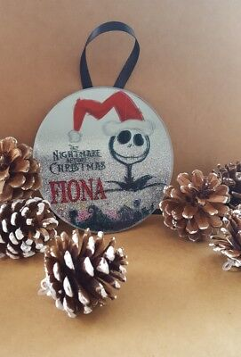 Nightmare before Christmas Jack Glitter Ombre Personalised Xmas Tree Decoration