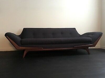 Gondola Sofa/Couch, Pearsall: Newly Upholstered, MCM, Excellent Condition!