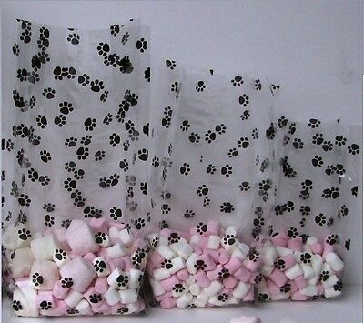 Paw print cello cellophane bags. Small medium large 10 20 or 25 Puppy dog treats