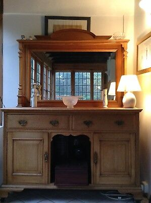 Antique Solid Oak Dresser/sideboard With Mirror