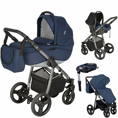 New Mini Uno Navy Stride Travel System Pushchair & Isofix Base From Birth