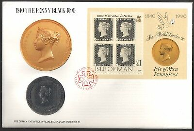 Isle of Man - MS447 Penny Black 150th Anniversary Crown Coin First Day Cover.
