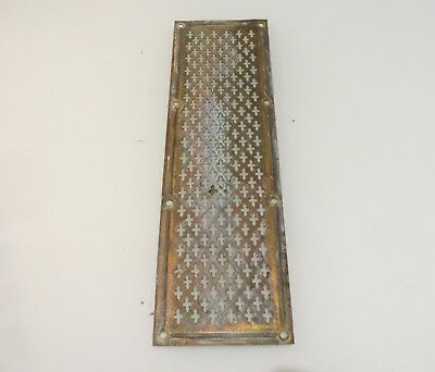 Antique Brass Finger Plate Push Door Handle Pierced Victorian Gothic Cross Old