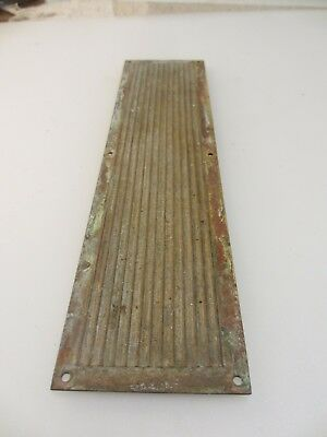 Antique  Brass Finger Plate Push Door Handle Reeded Architectural Vintage Old