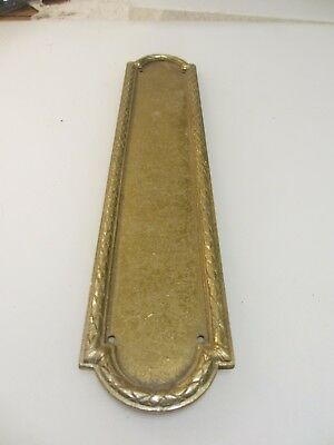Antique Brass Finger Plate Push Door Handle Vintage Old 1907 Edwardian Husks