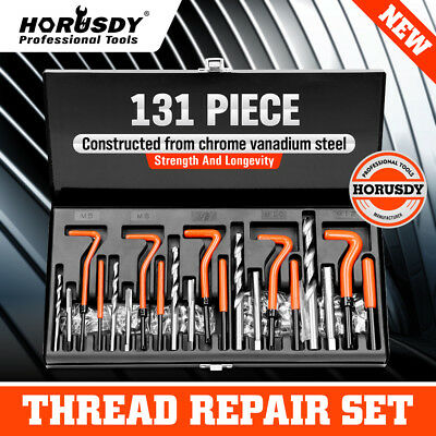 131PCS Helicoil Type Thread Repair Kit rethread Stripped Metric M5 M6 M8 M10 M12