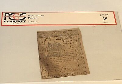 PCGS 1777 20 Shillings Continental Currency Delaware VF35 May 1 Colonial note