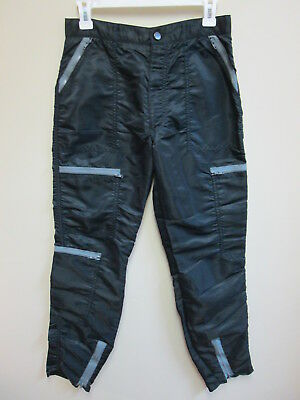 Men's 80s Parachute Pants Vintage Bugle Boy Countdown Wet Look Nylon Black 30M