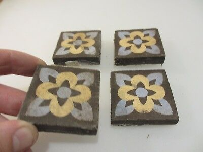 Victorian Ceramic Floor Tile Terracotta Antique 1800s Vintage Old Tiles Pugin x4