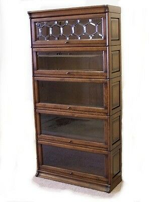 5 STACK OAK BARRISTER LAWYER BOOKCASE /w LEADED GLASS