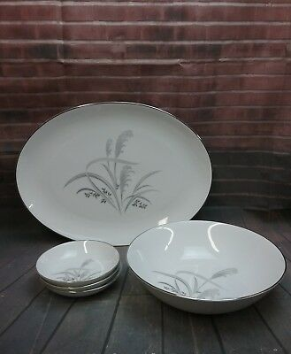 Wentworth China~Silver Wheat Pattern #7514. Platter, Serving bowl, 3 berry bowls