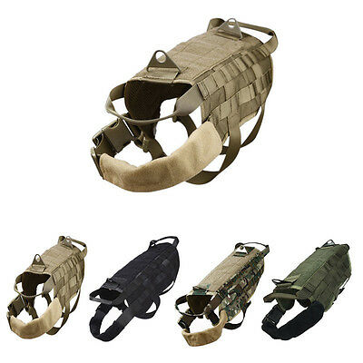 Tactical Police Dog Military Vest Service Canine Molle Harness Dog Wear S-XL New