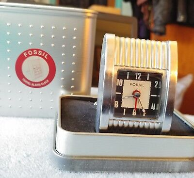 Relic retro metal travel alarm clock new and unused in box new old stock running fossil travel alarm clock 3 in metal box wextra gumiabroncs Choice Image