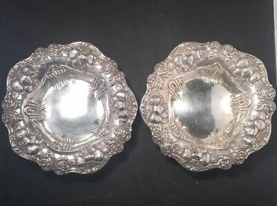 Pair Of Fine Strawberry By Woodside Sterling Silver Wine Coasters / Bowls 300 Gr