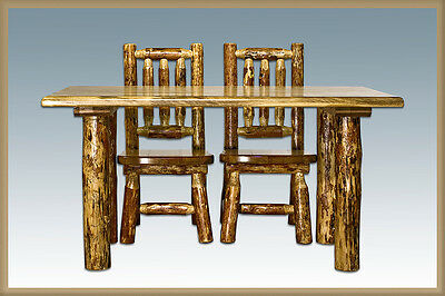 Log Kids Table Chairs Set Amish Made Furniture Rustic Toddler Tables