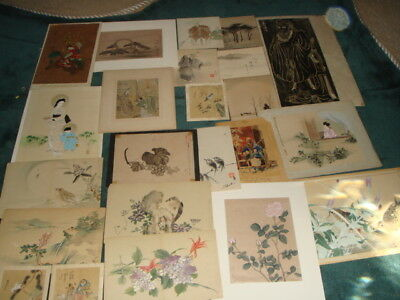 Lot 24 Assorted Japanese & Chinese Prints Watercolors Drawings etc