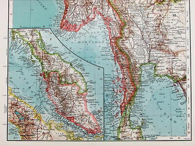 Burma Malaysia Myanmar Thailand Siam Southeast Asia 1906 detailed old map