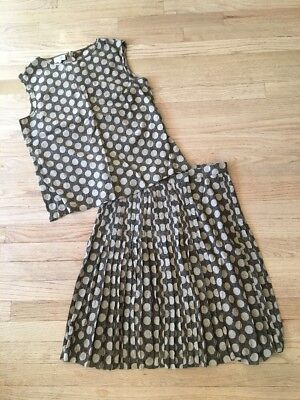 Vintage Valentino Boutique Suiting Outfit Pleated Midi Skirt W/ Tank Sz 10 Dots