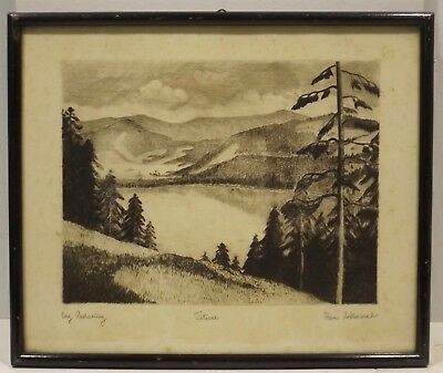 """"""" titisee. """" orgin.radierung Sign Hans Rothermel in Frame"""