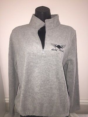 Harley-Davidson Women's Gray Fleece 1/4 zip pullover Sweatshirt plus size 1W