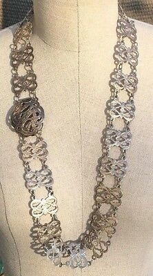 Antique Chinese Export Engraved Sterling Silver Belt
