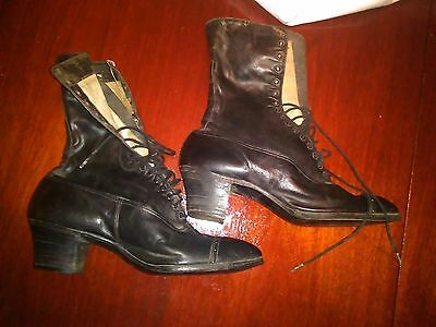 Pair of Women's Antique Victorian Edwardian Leather Walking Boots Vintage $1.98