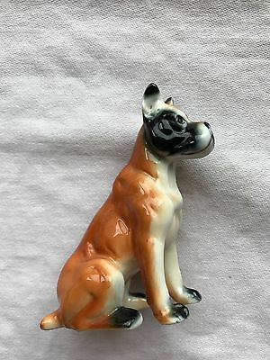 Vintage Boxer Dog Glazed China Figurines Brown Seated