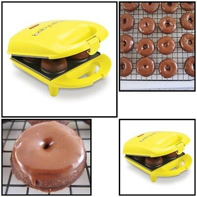 Mini Donut Maker Machine Electric Non-Stick Baking Plate Latching Handle Cooking
