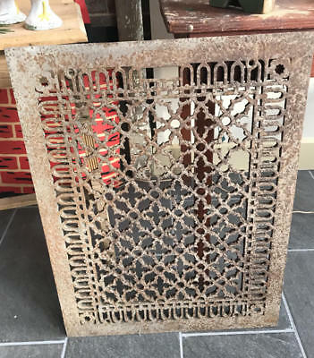 "Large Antique Cast Iron Floor Grate, Cold Air Return - 28 3/4"" X 22 1/2"""