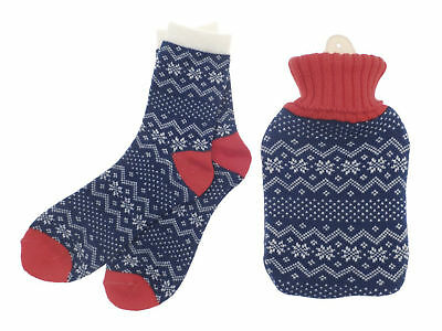 Country Club Hot Water Bottle with Cover & Ladies Sock Gift Set Blue Snowflake
