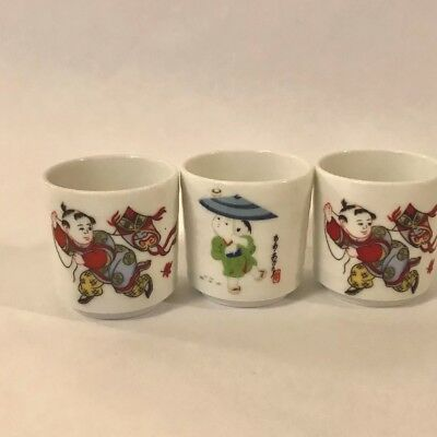 Oriental Asian Tea Sake Cups white Contemporary oriental Design Set of 3