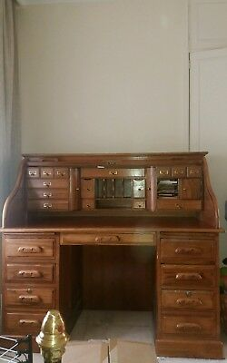 Antique Oak colonial roll top desk and matching chair. Pickup Balwyn North
