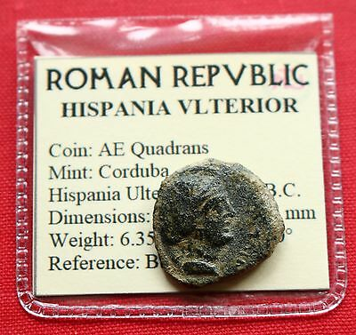 Genuine Roman Coin AE Quadrans Venus Cupid Corduba Spain