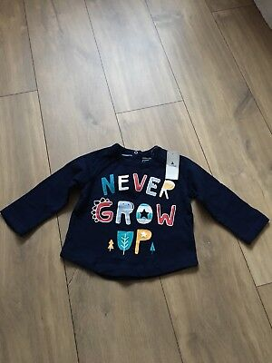 """BABY GAP Boy's long sleeved top with """"Never grow up"""" motif, 6-12 months, BNWT"""