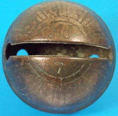 Antique Brass Sleigh Bell #7 Natural Patina Great Ring!