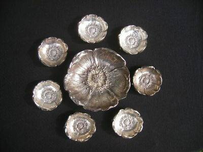 Seven Gorham Sterling Nut Dishes and a Gorham Durgin Sterling Bowl (525 grams)