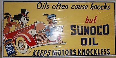 Awesome Sunoco Sign with Donald, Mickey and Goofy. Great Color and Graphics