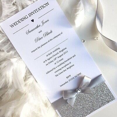 Wedding/Evening Invitations Handmade Personalised Glamour Tall-Flat Card-Glitter