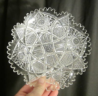 """AMERICAN BRILLIANT Antique Fine Well Cut Glass HOBNAIL HOBSTAR 7"""" Plate ABP XC"""