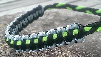 Archery Bow Sling 550 Paracord Lime green black & silver + 3 zipper pulls
