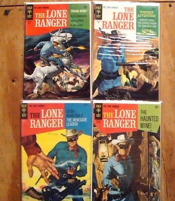 The LONE RANGER 12¢ Gold Key 4 issue lot 1967 painted covers 8.0-8.5VF+