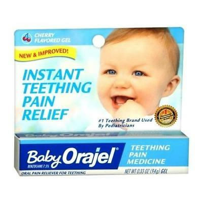 Orajel Instant Relief for Teething Pain Cherry Flavored Gel 0.33 OZ